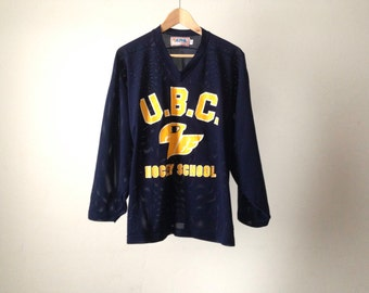 vintage HOCKEY size small CANADIAN U.B.C. hockey school mesh faded t shirt