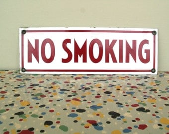 Vintage Red and White No Smoking Enamel Sign