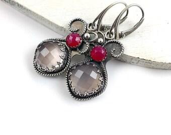 Silver retro earring, pink romantic earring, metalwork jewelry