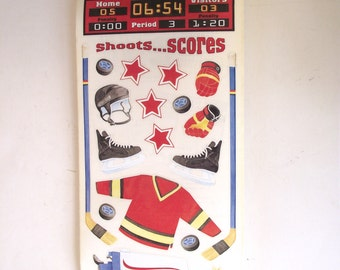 Hockey Themed Stickers, Large Lot of Acid Free Sandylion Stickers, 414 Stickers, 23 Sheets (D1)
