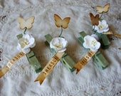 decorative clothespins for party favor package ties green and white gift sacks wooden clothespins flower embellishments clothespin ornaments