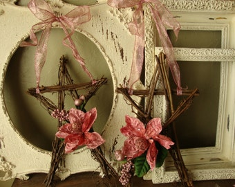 "Christmas wreath pink grapevine star Rustic Chic natural home decor 18"" star wreath Christmas wall decor"