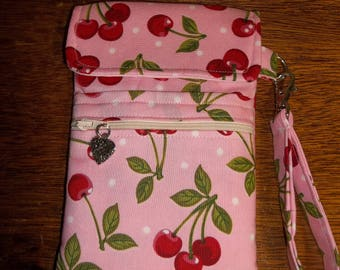 Pink Cherries Cell Phone Case/Wristlet