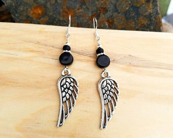 Black Angel Wing Earrings, Black Angel Wings Sterling Silver Earrings, Black Wings Earrings, Wings Sterling Silver Earrings