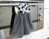 Hanging Hand Towel smokey grey towel with grey black leaf linen blend top section