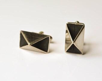 Cuff Links, Silver and Black Cufflinks, Vintage