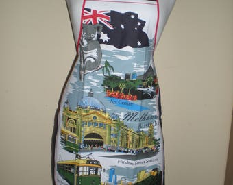 Australian Melbourne souvenir apron Great overseas gift for family and friends Cotton fabric