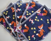 Baby Girl Set of 5 Reusable Minky Wipes or Washcloths in Foxes