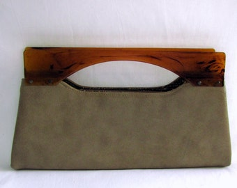 Vintage 1950s Fawn Tan Faux Leather Clutch Handbag Amber Acrylic Handles