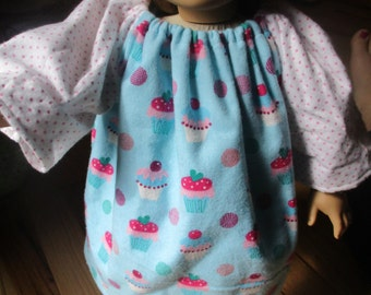 "18"" Doll Nightgown, cupcake peasant dress for 18 inch doll"