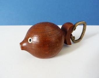Vintage wooden teak fish bottle opener corkscrew