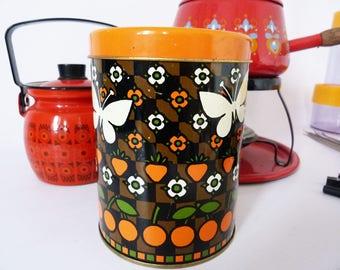 Vintage butterfly storage tin tea caddy