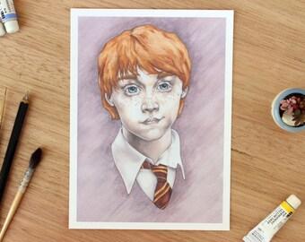 Ronald Weasley. 5x7 Fine Art Archival Print. Watercolor Illustration. Gryffindor Uniform.  Harry Potter Fan Art
