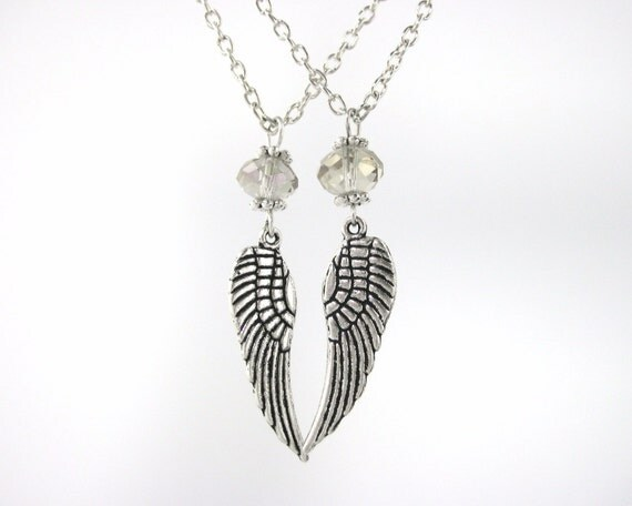 Best Friend Necklace For 2 - Matching Sister Necklace Set - Mother Daughter Jewelry - Silver Guardian Angel Wing Necklace