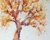 Tree 30in30 Day 3 Purple Orange watercolor 30 paintings in 30 days ORIGINAL art Big twisted tree art