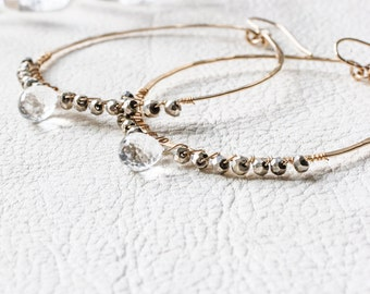 Gold Pyrite Earrings - Large Gold Fill Pyrite and Crystal Quartz Hoop Earrings - Hammered Large Gold Hoops Wire Wrapped Pyrite Earrings