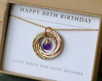 80th birthday gift for mom, February birthstone necklace, amethyst jewellery for her, February birthday gift grandmom  - Lilia