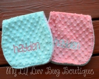 personalized minky burp cloth set- minky burp cloths opal and coral with lattice and arrows- baby gift set mint and coral
