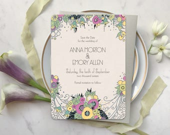 Save the Date Invitations, Save the Date Cads, Art Deco Wedding, Save the Dates, Blush Wedding Invitations, Art Deco Floral Delight