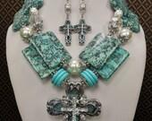 Cowgirl Western Rhinestone Cross Necklace Set / Blue Jasper Necklace / Chunky Statement Necklace / Southwest Jewelry - BLUE ISLAND CROSS