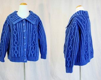 1990's Lapis Royal Blue Merino Wool Fisherman's Cardigan Sweater X-Large- Plus Vintage Retro 90's Aran Crafts Ireland Traditional