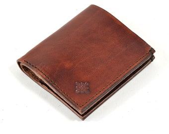 Vegetable Mahogany Brown Leather Bi Fold Card Bill Wallet Handmade