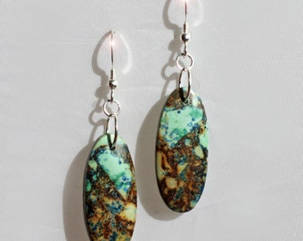 Earth and Sky - Beautiful Natural Chrysocolla Sterling Silver Earrings