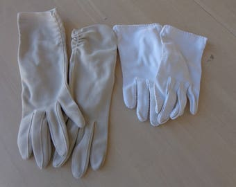 Gloves -Two pair womans dress gloves - one pair beige and long and one short white  Size small