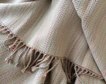 Handwoven Silk Merino Wool Throw Pastels Neutral,  Silk Merino Wool Luxury Blanket Hand Dyed