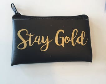 Stay Gold Change Purse Wallet Vegan