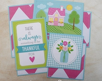 Thankful - Girl - Premade Scrapbook Page Sewn Photo Mat Set