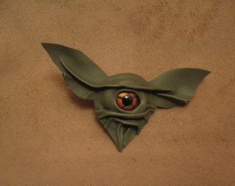 Grichels leather pin/tie tack/brooch - leafy green with copper star eye