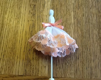 Handmade Doll Parasol with melon lace and ribbon. Fits a 12 to 14 in doll.