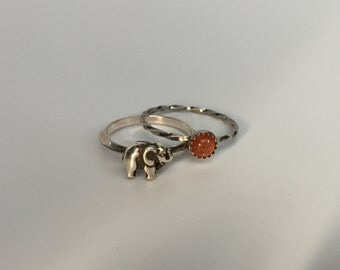 Elephant Stacking Ring. Sterling silver stacker jewelry mix and match. Good luck symbol jewelry.