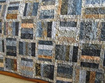 Batik Quilt, Homemade Quilt, Patchwork Quilt, Lap Quilt, Quilted Throw, Handmade Quilt, Sofa Quilt, Home Decor, Blue Gray Quilt
