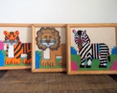 Set of Three Colorful Vintage Needlepoint Wild Animal Wall Art Lion Tiger and Zebra