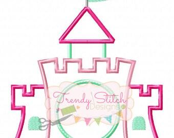 Castle Monogram Applique Design Machine Embroidery Design INSTANT DOWNLOAD Princess Castle