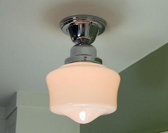 Schoolhouse Ceiling Light. Vintage Opal Glass Shade. New Chrome Fixture