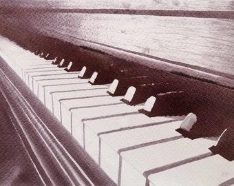 Original WINE Painting : Piano Keys and Wine Notes