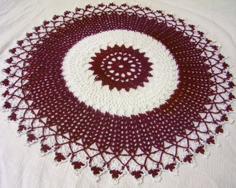 x-large crocheted doily burgundy and white handmade home decor