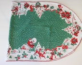 Vintage Christmas Table Runner Holiday Red Green Santa Kitsch 50s