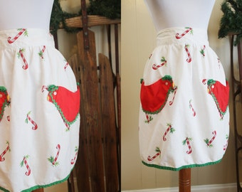 Vintage Christmas Apron Hostess Holiday Candy Cane Chicken Pockets 50s
