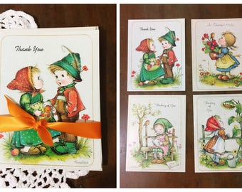 Vintage Note Cards and Envelopes by Anneliese Little Children Greeting Set of 4 Unused