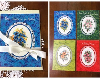 Vintage Unused Greeting Cards and Envelopes Floral Illustrations 1980s Assorted Set of 4