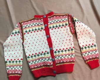 Vintage 50's Child's Sweater, Nordic Christmas Cardigan Ski Sweater, Hand Knit Wool, Cream, Red, Green, Small