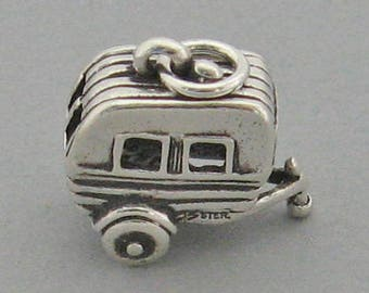 3D TRAVEL TRAILER Airstream Camper Sterling Silver 925 Charm Pendant 4685