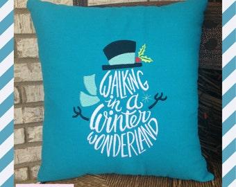 Winter Wonderland Snowman Pillow , Seasonal Pillow, Home decor