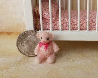 OOAK needle felted miniature pink teddy bear Micro teddy bear Teddy bear huggable for 1:12 dollhouse kids room