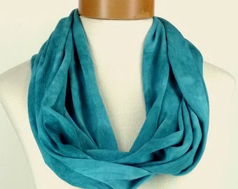 Teal Infinity Scarf, Bamboo Jersey Scarf, Hand Dyed Scarf, Neck Wrap