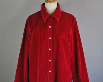 Vintage 90s Women's Red Corduroy Rustic Fashion Long Sleeve Cabin Button Down Shirt, Size Large